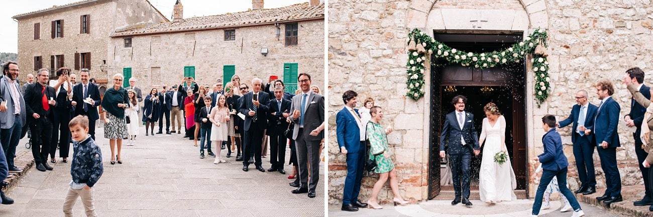 Tossing rice at the end of a wedding ceremony in Tuscany